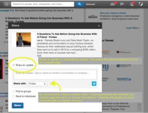 share button on linkedin