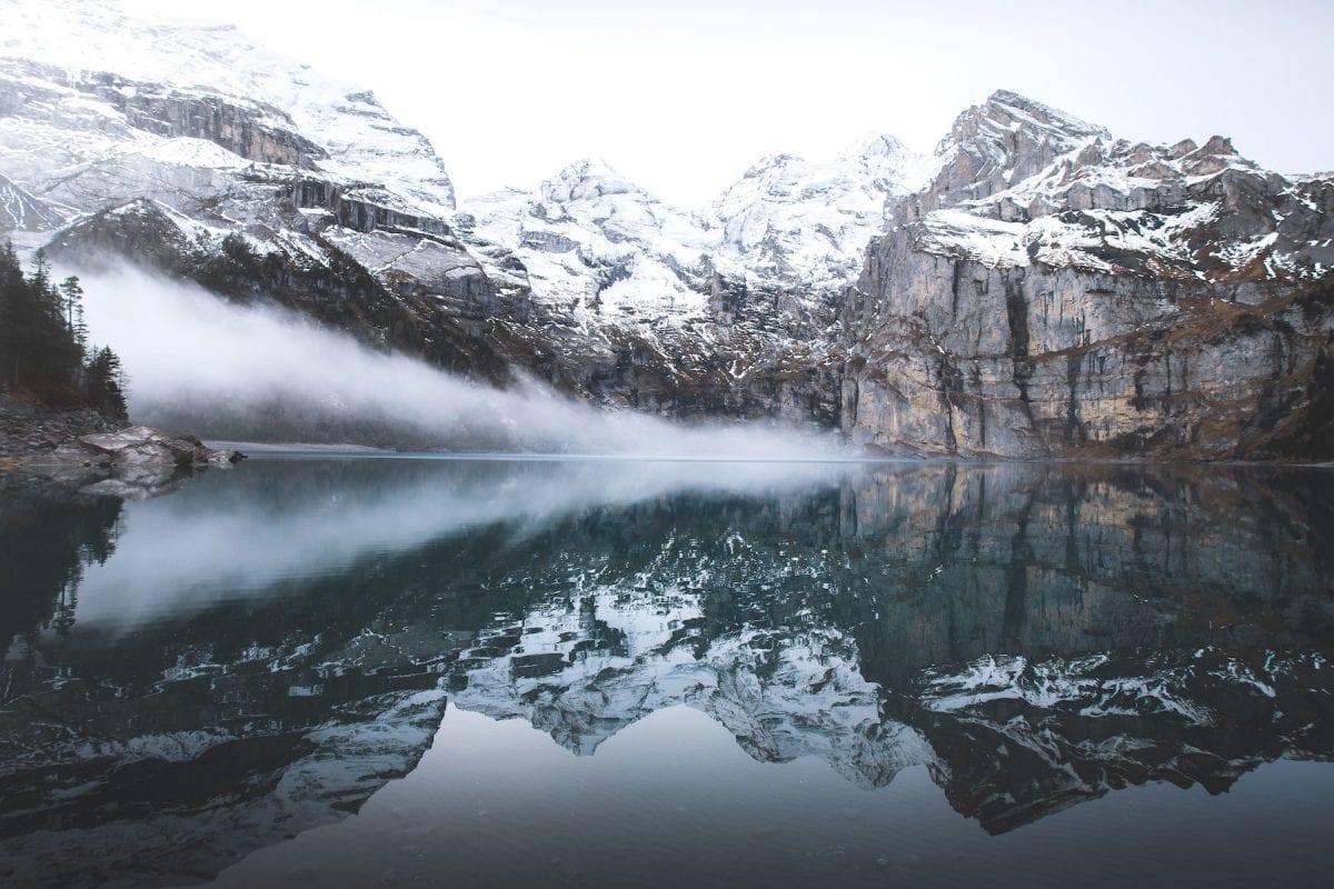 mountain lake winter landscape